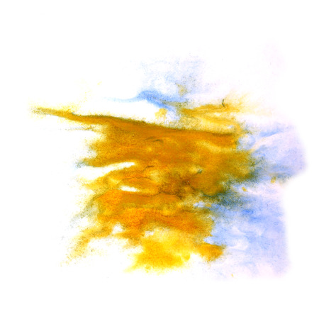 ink stain: paint splash ink blue, yellow stain watercolour blob spot brush watercolor abstract background texture