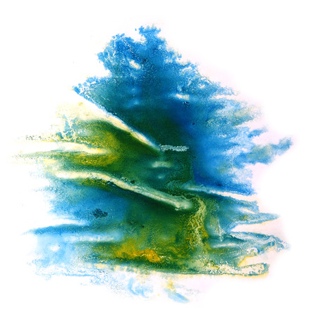 ink stain: paint splash ink stain watercolour blue, green blob spot brush watercolor abstract background texture Stock Photo