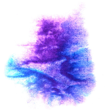 ink stain: paint splash ink violet, blue stain watercolour blob spot brush watercolor abstract background texture Stock Photo