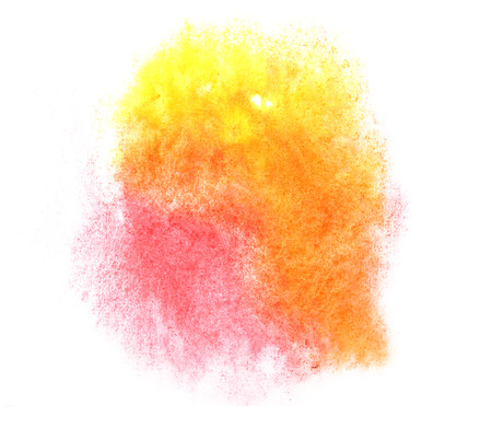ink stain: art yellow, red watercolor ink paint blob watercolour splash colorful stain isolated on white background texture Stock Photo
