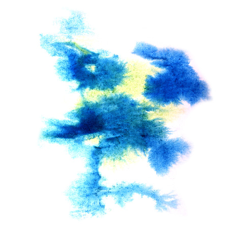 aquarell: paint splash blue, yellow ink stain watercolour blob spot brush watercolor abstract background texture Stock Photo