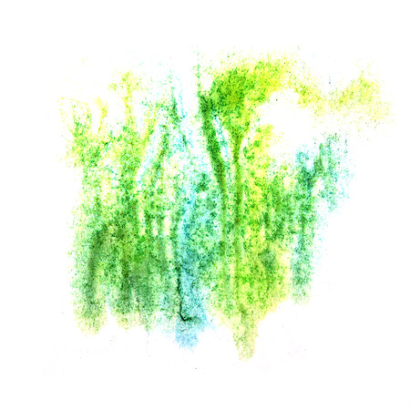 ink stain: paint splash blue, green, yellow ink stain watercolour blob spot brush watercolor abstract background texture Stock Photo