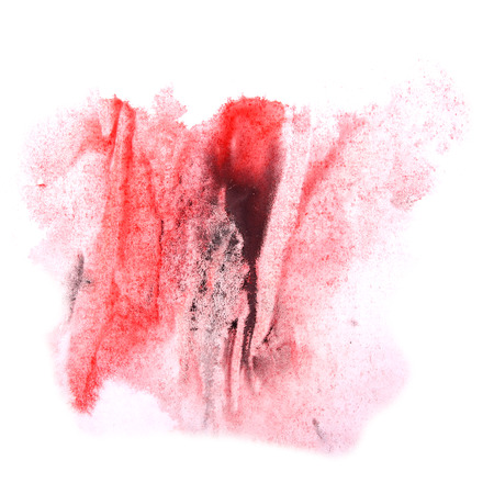 ink stain: paint splash ink stain red, black watercolour blob spot brush watercolor abstract background texture Stock Photo