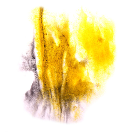 ink stain: paint splash violet, yellow ink stain watercolour blob spot brush watercolor abstract background texture Stock Photo