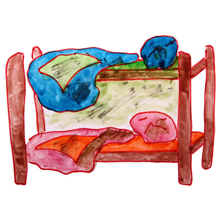 bunk bed: watercolor drawing children bed, bunk cartoon on a white backgro Stock Photo