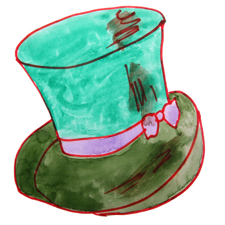 tirol: drawing children watercolor hat, green cartoon on a white back