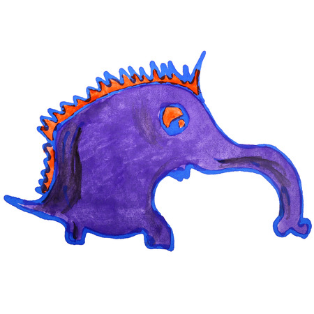 anteater: watercolor drawing kids cartoon anteater on white background