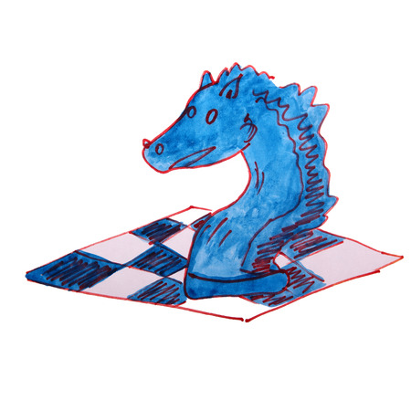 watercolor drawing kids cartoon chess on white background photo
