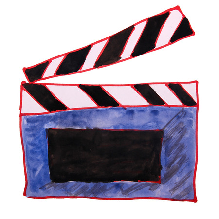 episode: watercolor drawing kids cartoon clapper on white background Stock Photo