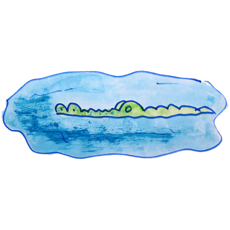 timid: watercolor drawing kids cartoon crocodile on white background Stock Photo