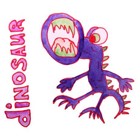 petrifying: watercolor drawing kids cartoon dinosaur on white background Stock Photo