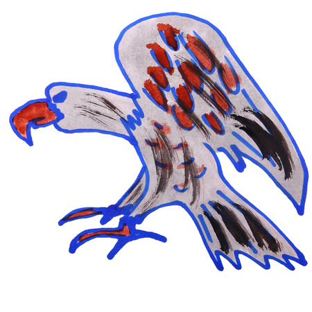 watercolor drawing kids cartoon eagle on white background Stock Photo