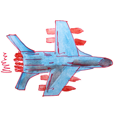 aeronautics: watercolor drawing kids cartoon fighter on white background