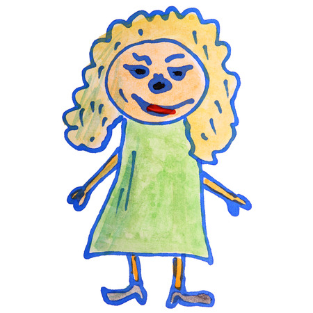 curly hair child: watercolor drawing kids cartoon girl on white background