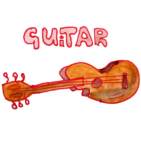 watercolor drawing kids cartoon guitar on white background photo