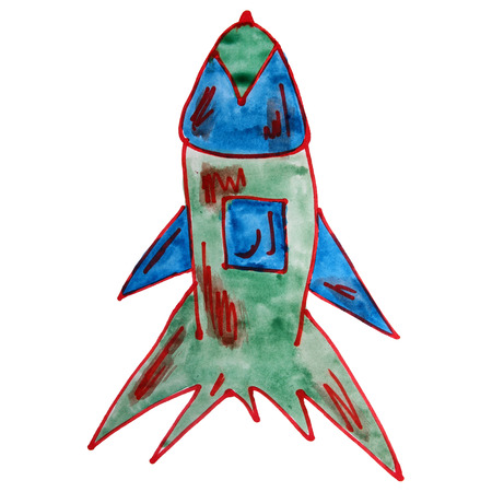 watercolor drawing kids cartoon missile white background photo