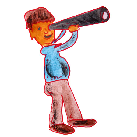 watercolor drawing kids cartoon telescope on white background photo
