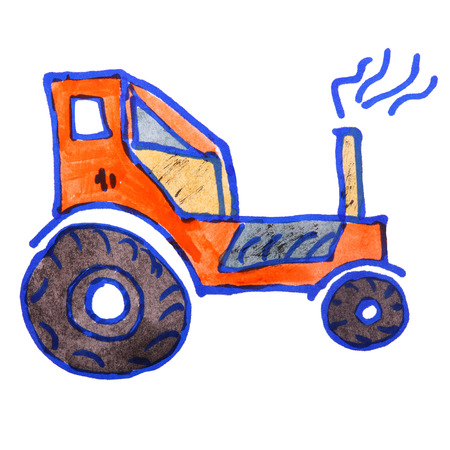 agricultural engineering: watercolor drawing kids cartoon tractor on white background