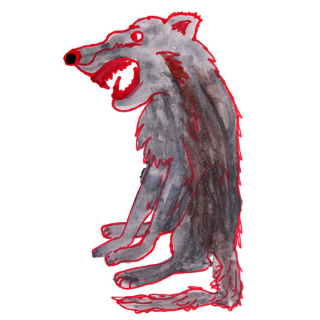 artful: watercolor drawing kids cartoon wolf on white background Stock Photo