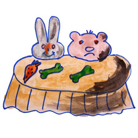 aquarelle table enfants, bande dessinée de nourriture sur une backgroun blanc
