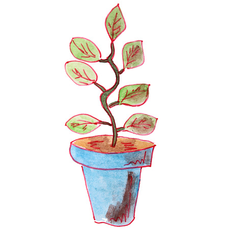 potting soil: drawing children watercolor plant pot on a white background Cart