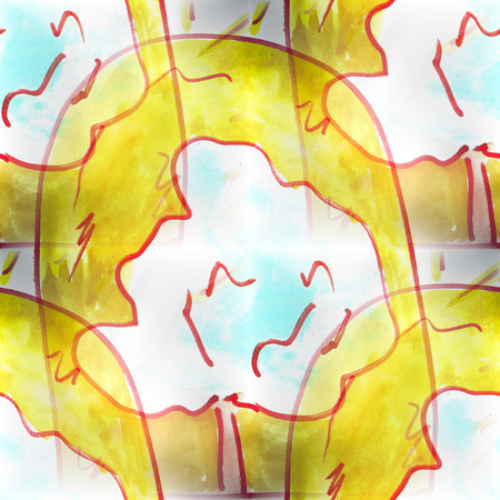 textur: Mural   seamless tree, sun pattern background  textur