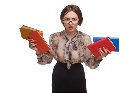 wicked woman: wicked woman teacher in glasses holding a book isolated on white