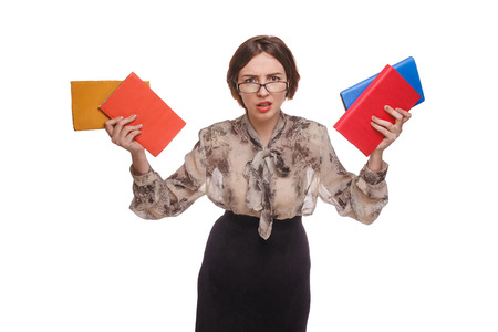angry teacher: woman angry teacher with books in glasses isolated on white back Stock Photo