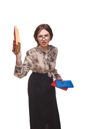 angry teacher: woman angry teacher with books hands glasses