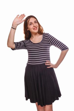 gente saludando: mujer se despide agitando fondo blanco aislado