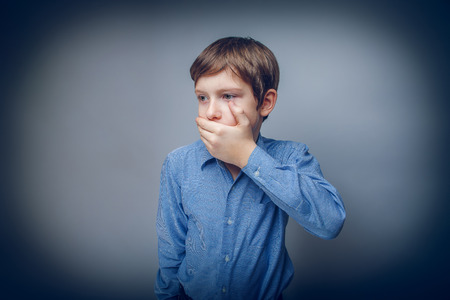 boca cerrada: Muchacho adolescente aparici�n europea mano cabello casta�o boca cerrada siente Foto de archivo