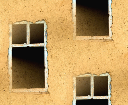 mud wall: abstract seamless texture mud wall with a window Stock Photo