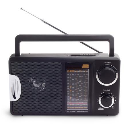 fm: black vintage radio to listen isolated station waves Stock Photo