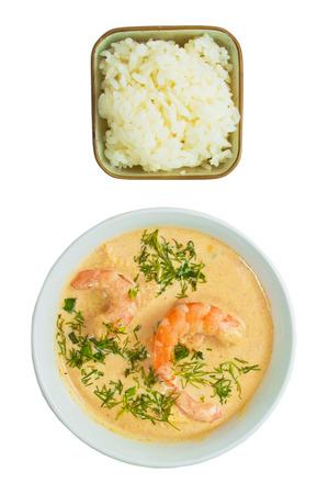 laksa: soup food shrimp rice plate isolated on white  Stock Photo