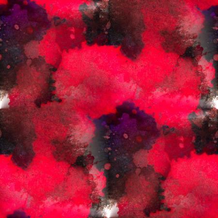 rouge et noir: aquarelle rouge texture peinture noire avec des taches Banque d'images