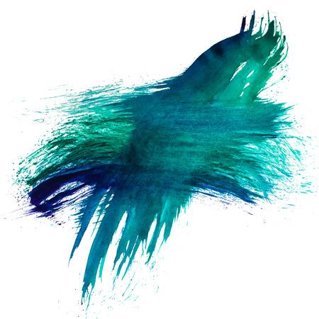 blotch: blue green watercolors spot blotch isolated Stock Photo