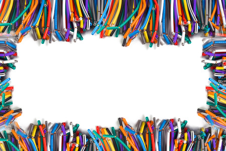 colored wires isolated on white background structure with space photo