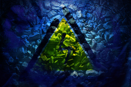 Electric danger Signal lightning on a blue background abstract photo