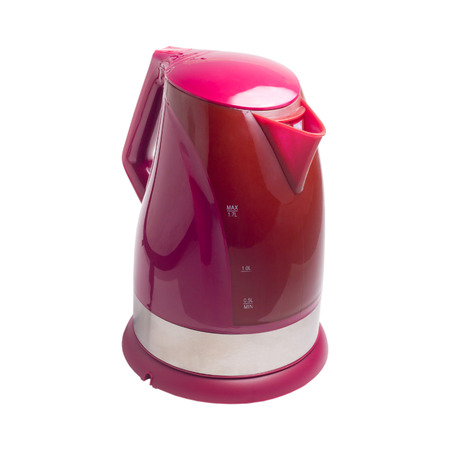 Electric kettle isolated red white background photo