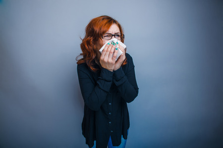 30 years: European-looking woman of 30 years is ill Stock Photo