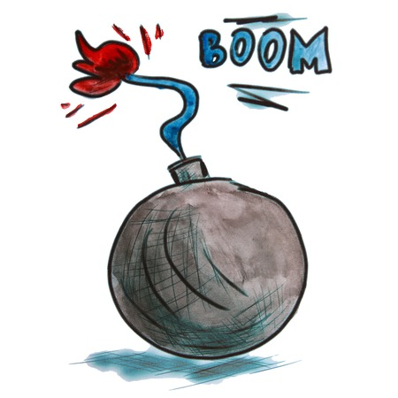 detonation: watercolor black bomb cartoon drawing isolated on a white background