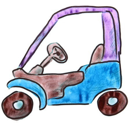 purple car: watercolor purple car cartoon figure, isolated on white background