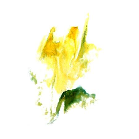 trabajo manual: Blot divorcio verde, amarillo ilustraci�n art�stica de trabajo hecho a mano es aislado
