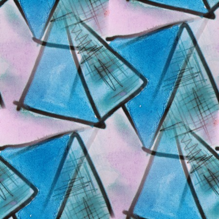 avant garde: blots blue triangles watercolor  painting seamless background