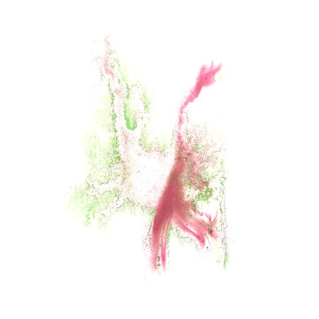 the ink blot: ink blot green, pink splatter background isolated on white hand painted