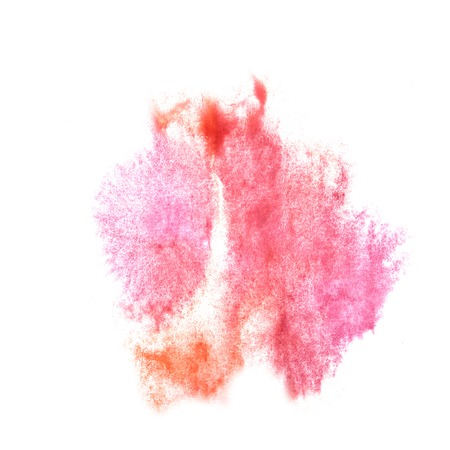pink brown: ink blot splatter pink, brown background isolated on white hand painted Stock Photo