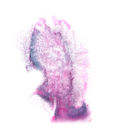 the ink blot: ink blot splatter purple, blue background isolated on white hand painted