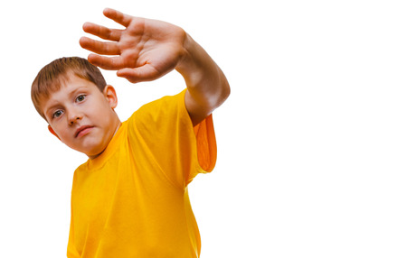 concealed: Teenager boy scared concealed hand from hitting domestic  violence is isolated on  white background