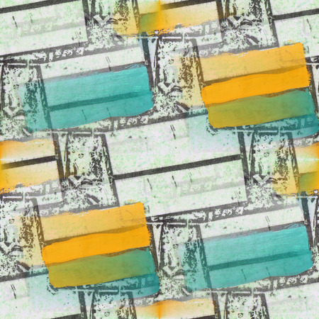 seamless blue, yellow, white figures figures texture background wallpaper pattern ancient Stock Photo