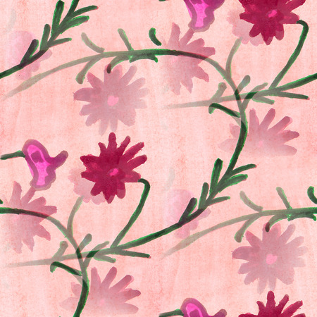 avant: seamless  texture pink leaves watercolor  flowers  wallpaper Stock Photo